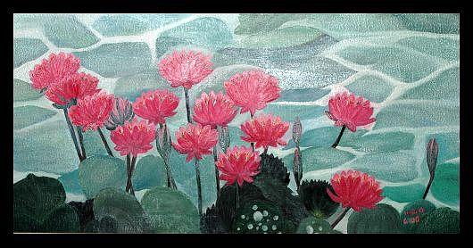 Flowers Painting - Lotus Pond by Usha Rai