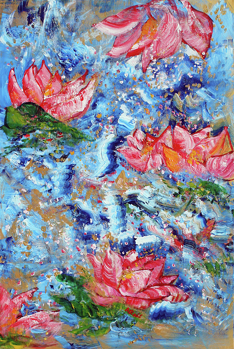 Louts Painting - Lotus Sky River 201758 by Alyse Radenovic