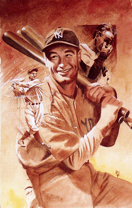 Baseball Painting - Lou Gehrig by Ken Meyer jr