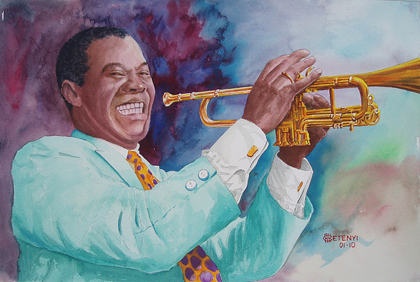 Trumpet Painting - Louis Armstrong by Charles Hetenyi