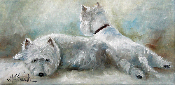 Westie Painting - Lounge by Mary Sparrow