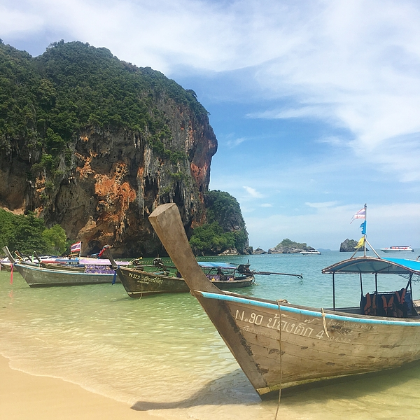 Thailand Photograph - Lounging Longboats by Ell Wills