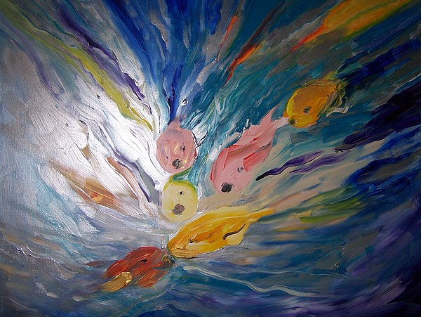 Fish Painting - Love Crazed Coi by Katerina Wagner