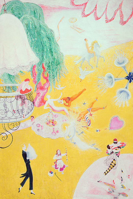 Love Painting - Love Flight Of A Pink Candy Heart by  Florine Stettheimer