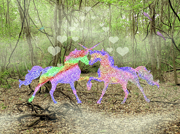 Love Mixed Media - Love In The Magical Forest by Rosalie Scanlon