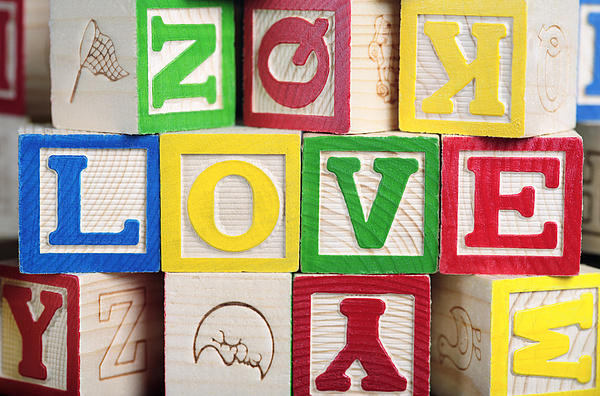 Building Blocks Photograph - Love by Neil Overy