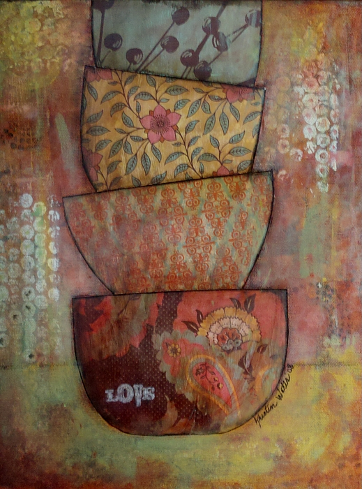 Bowls Painting - Love Stack by Kristen Watts