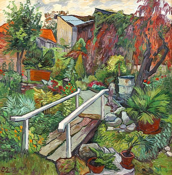 Landscape Painting   Lovely Flower Garden By Vitali Komarov