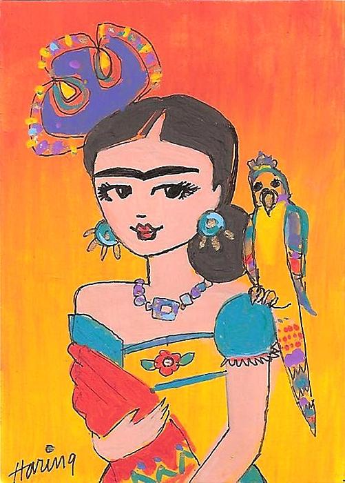 Frida Kahlo Painting - Lovely Frida And Her Parrot by Karen Haring