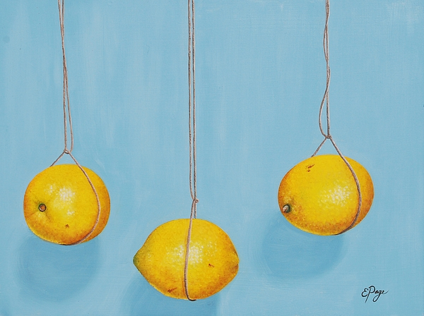 Lemons Painting - Low Hanging Lemons by Emily Page