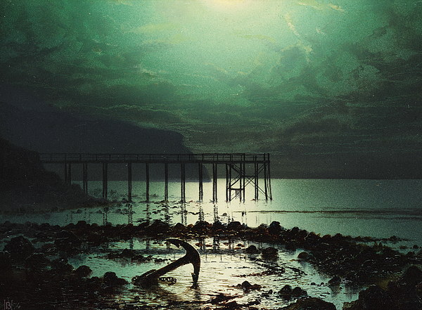 Seascape Painting - Low Tide By Moonlight by WHJ Boot
