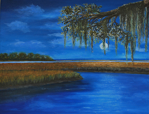 Moonscape Painting - Lowcountry Moon by Stanton Allaben