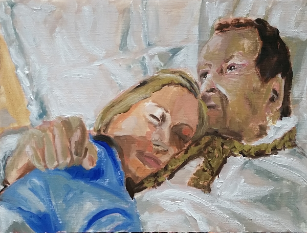 Lucian Freud Painting - Lucian And Kate I by Bachmors Artist