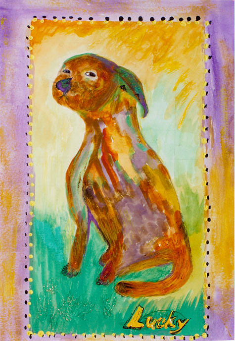 Dog Painting - Lucky by Anne-Elizabeth Whiteway