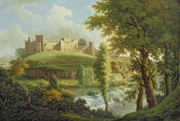 Ludlow Painting - Ludlow Castle With Dinham Weir by Samuel Scott