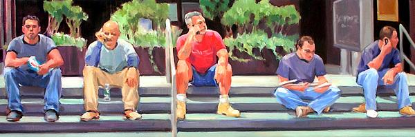 Figurative Painting - Lunch Break - Men At Work Series by Merle Keller