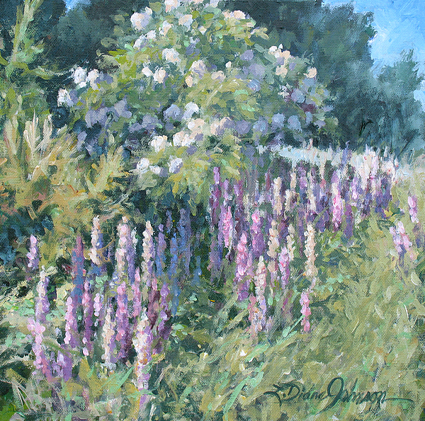 Flowering Trees Painting - Lupine On Parade by L Diane Johnson