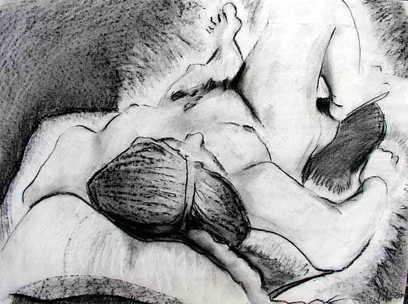 Nude Drawing - Lying Down Nude by Brad Wilson
