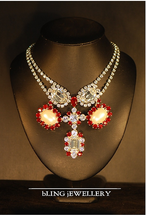 Vintage Style Jewelry - Mabe Pearl And Siam Crystal Necklace by Janine Antulov