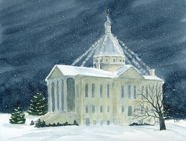 Architecture Painting - Macoupin County Illinois Courthouse by Denise   Hoff