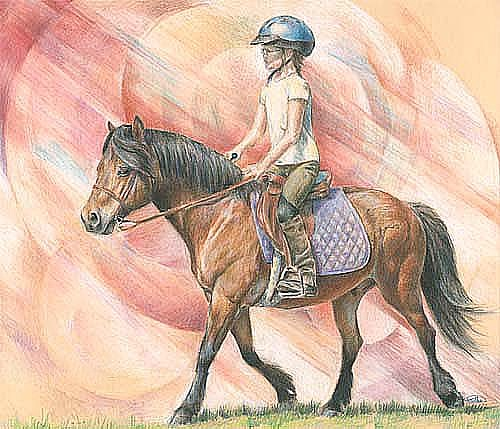 Horse Painting - Madeline And Pony by Jenifer Trottier