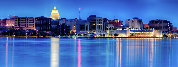 Capitol Photograph - Madison Skyline Reflection by Sebastian Musial