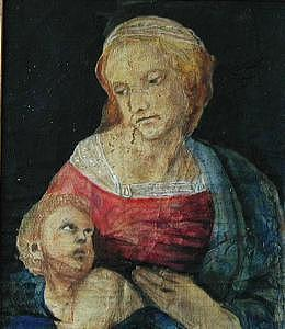 Madonna And Child  In Red And Blue  Based On Work On By Raphael Painting by Judy Loper