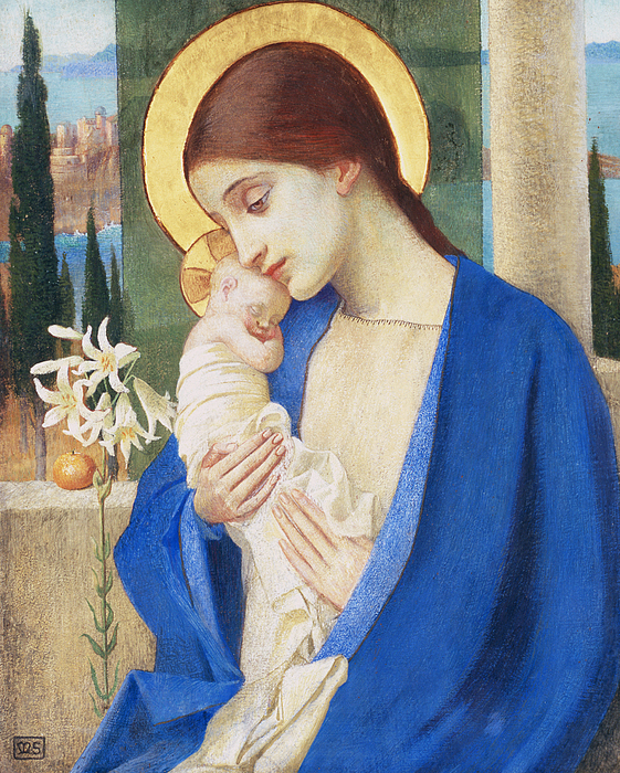 Virgin Mary; Infant Christ; Jesus; Halo Painting - Madonna And Child by Marianne Stokes