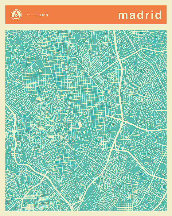Madrid Street Map Digital Art by Jazzberry Blue