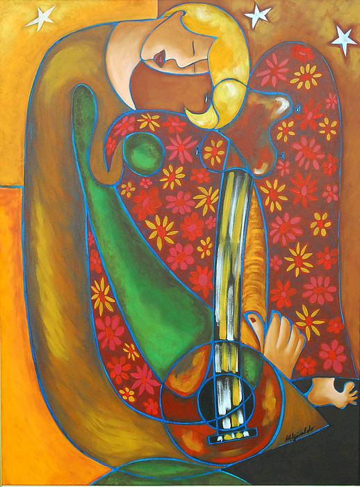 Abstract Expressionism Painting - Maggie Guitar by Marta Giraldo