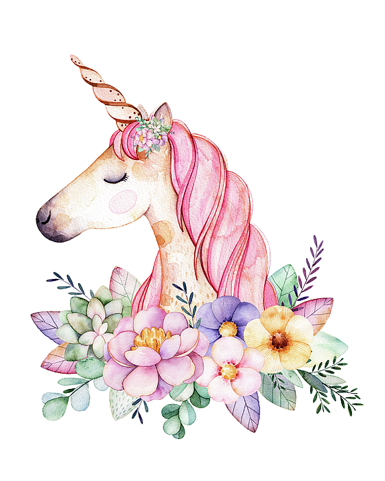 Magical Watercolor Unicorn Digital Art By Lisa Spence