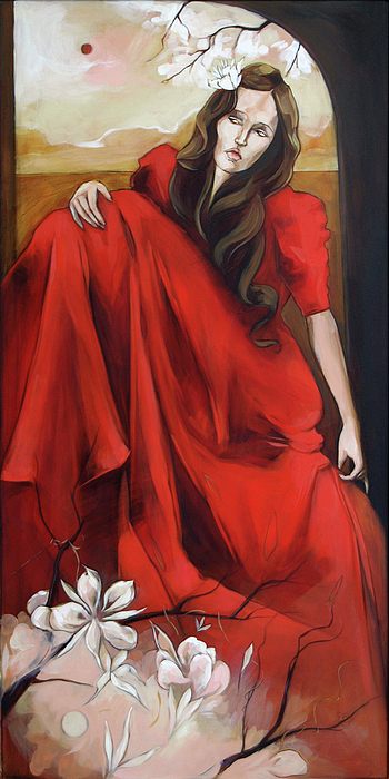 Magnolia Painting - Magnolias Red Dress by Jacque Hudson