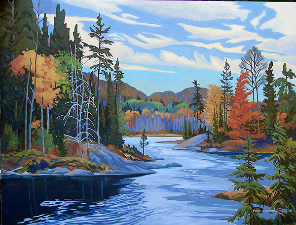 Landscape Painting - Magpie River Algoma by Paul Gauthier
