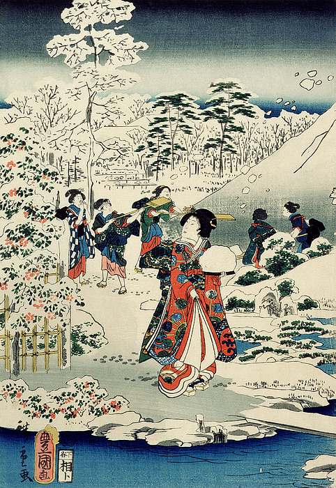 Maids In A Snow-covered Garden Painting - Maids In A Snow Covered Garden by Hiroshige