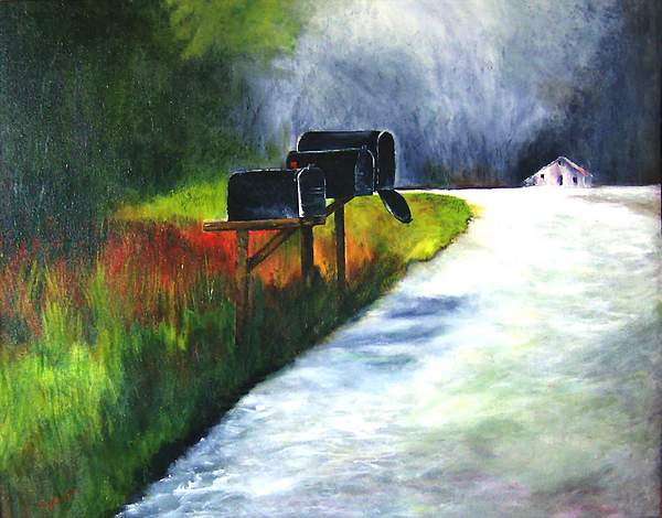Landscape Painting - Mail Call by Julie Lamons