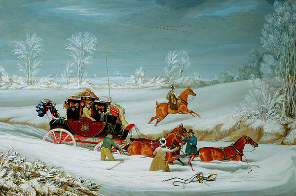 Mail Painting - Mail Coach In The Snow by John Pollard