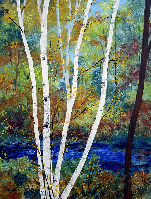 Landscape Painting - Maine Birch Stream by Laura Tasheiko