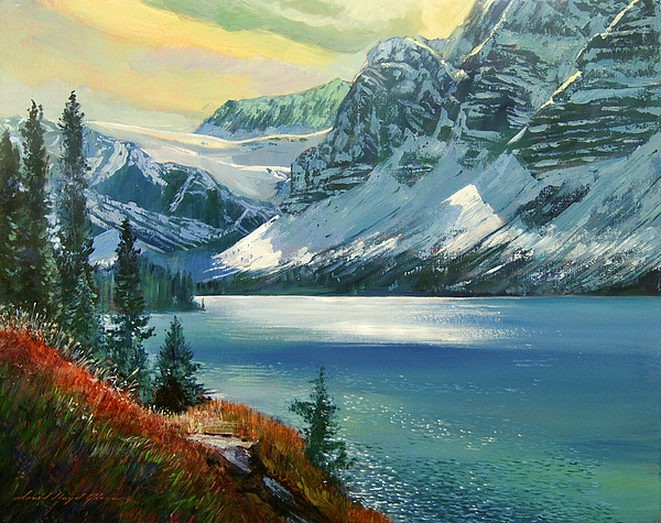 Mountain Painting - Majestic Bow River by David Lloyd Glover