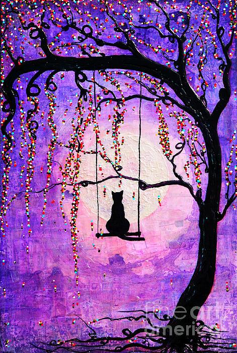 Black Cat Mixed Media - Make A Wish by Natalie Briney