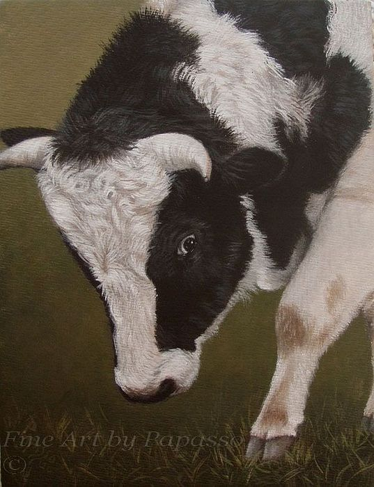 Cow Painting - Maky My Day by Kathie Papasso