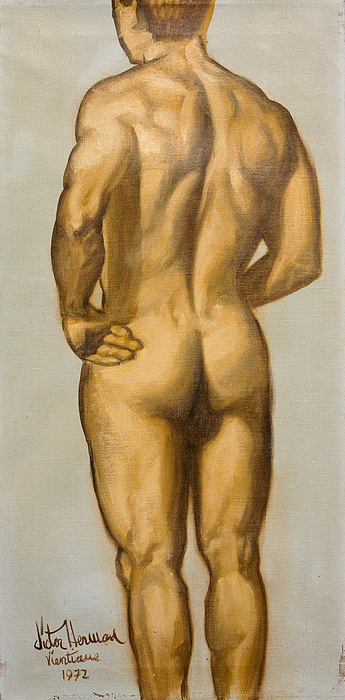 Man Painting - Male Nude Self Portrait By Victor Herman by Joni Herman
