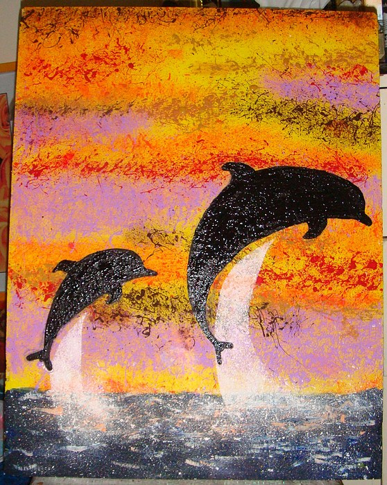 Mama Dolphin And Baby Painting by Samantha  Dsouza