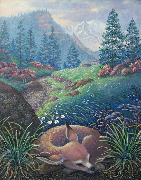 Deer Painting - Mama Eats While Baby Sleeps by Marjorie Hause