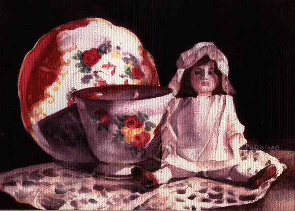Watercolor Painting - Mamas Doll by Patricia Halstead
