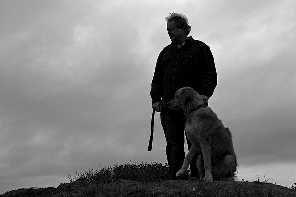 San Simeon Photograph - Man And His Dog In Silhouette by Lorraine Devon Wilke