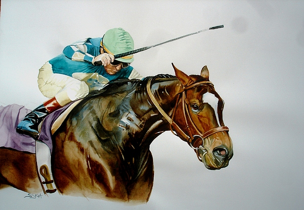 Horse Painting - man And Horse In Competative Motion by Sabrina Siga