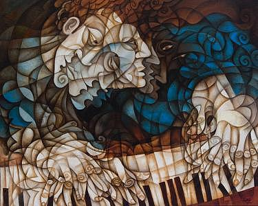 Man At Piano Painting by Paul Grech