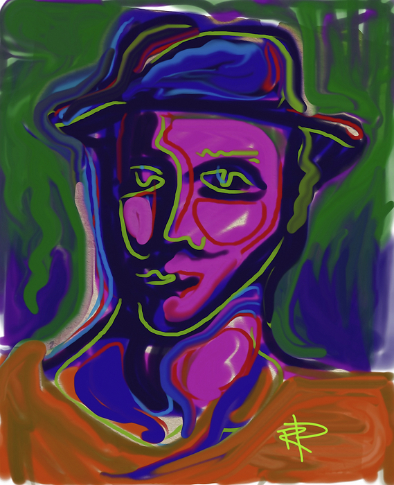 Abstract Digital Art - Man In Blue Hat by Russell Pierce