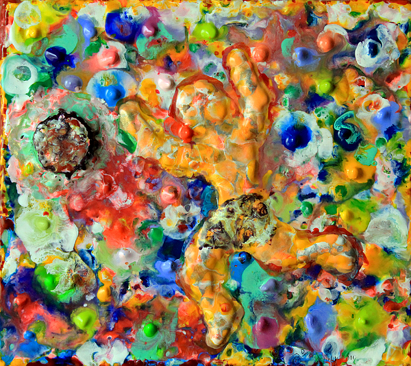 Abstract Painting - Man  Kicking  An  Encaustic  Ball by Carl Deaville