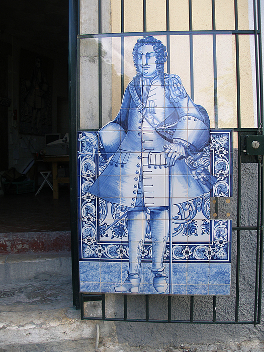 Man Glass Art - Man Of Blue Tiles by Carl Purcell